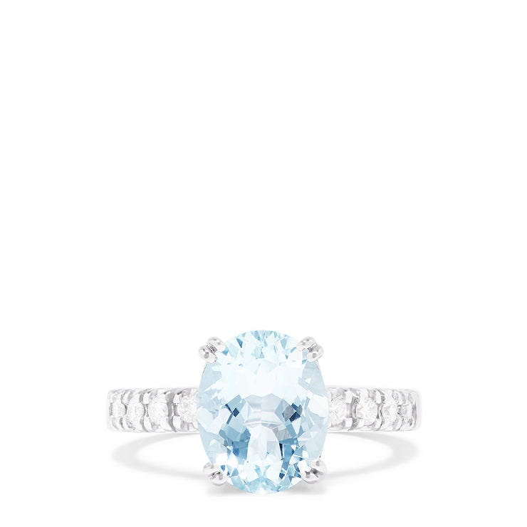 Effy 14K White Gold Aquamarine and Diamond Ring, 3.40 TCW