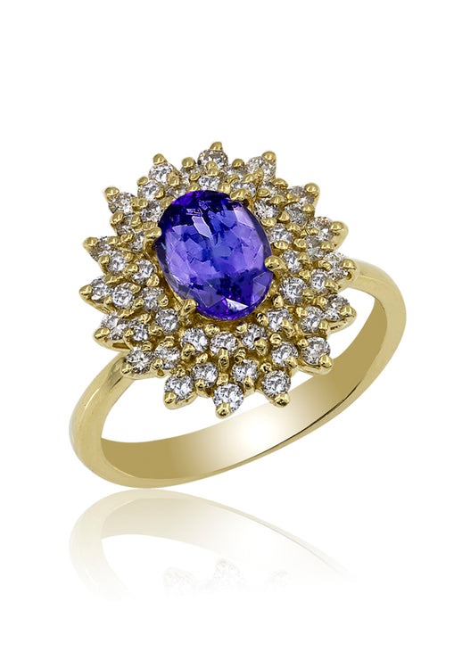 14K Yellow Gold Tanzanite and Diamond Ring, 1.97 TCW