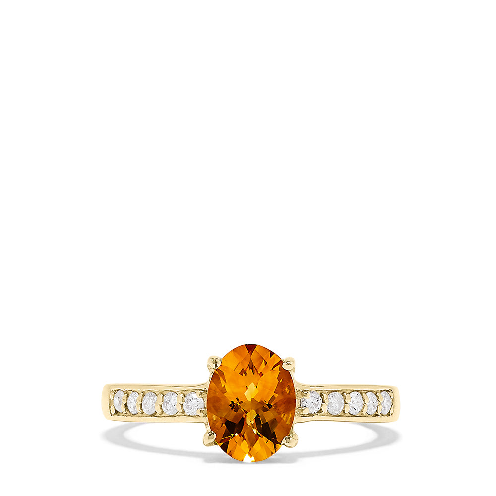 Effy Sunset 14K Yellow Gold Citrine and Diamond Ring, 1.14 TCW