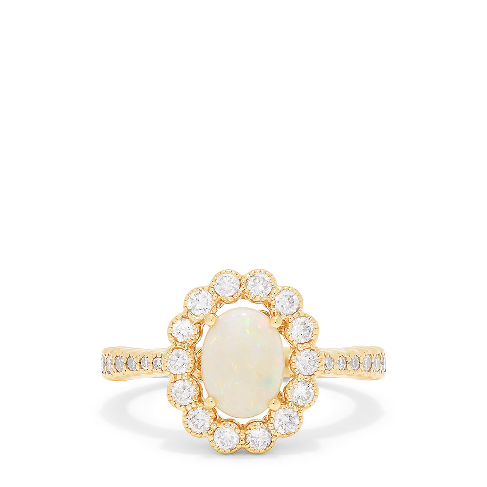 Effy Aurora 14K Yellow Gold Opal and Diamond Ring, 1.22 TCW