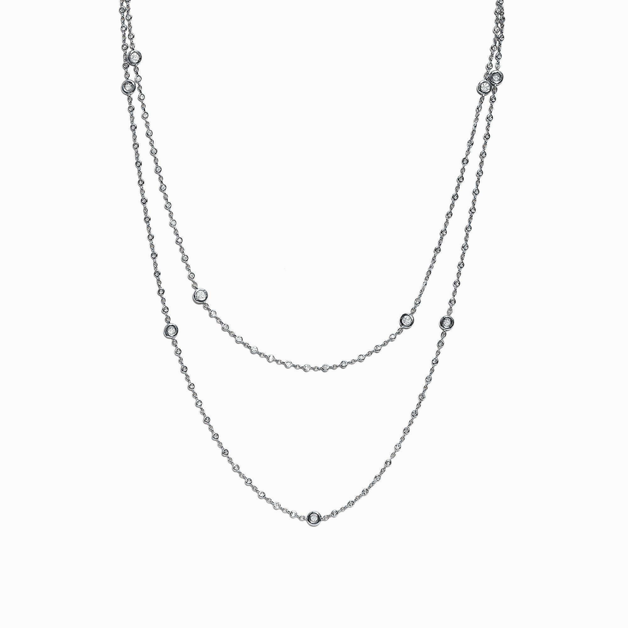 Effy Pave Classica 14K White Gold Diamond Station Necklace, 1.35 TCW