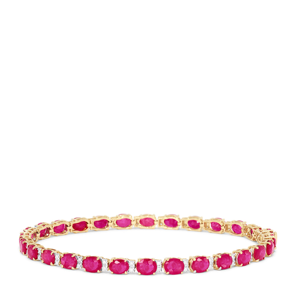 Effy Ruby Royale 14K Yellow Gold Ruby and Diamond Bracelet, 12.19 TCW