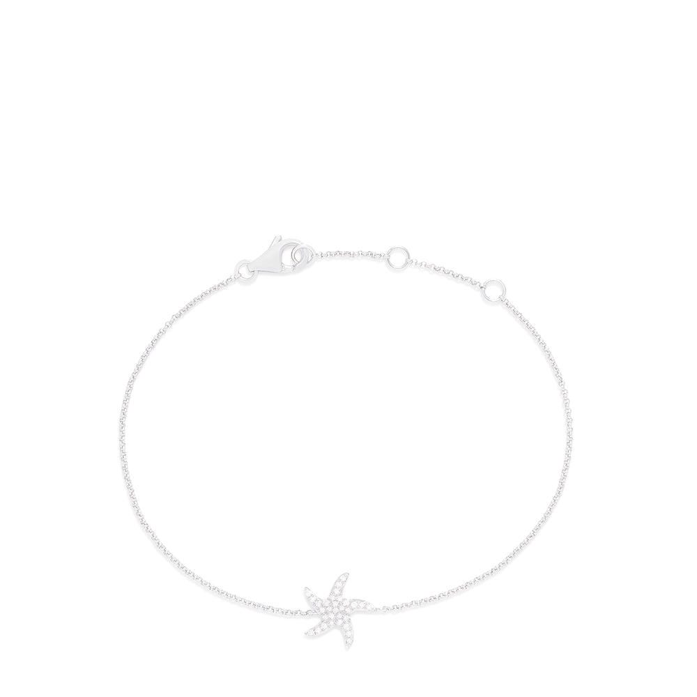 Effy Novelty 14K White Gold Diamond Starfish Bracelet, 0.12 TCW