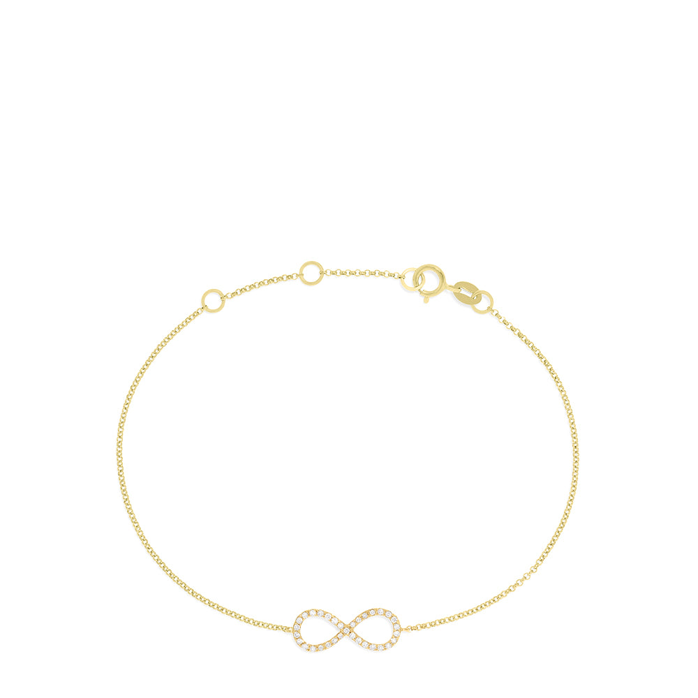 Effy Novelty 14K Yellow Gold Diamond Infinity Bracelet, 0.12 TCW