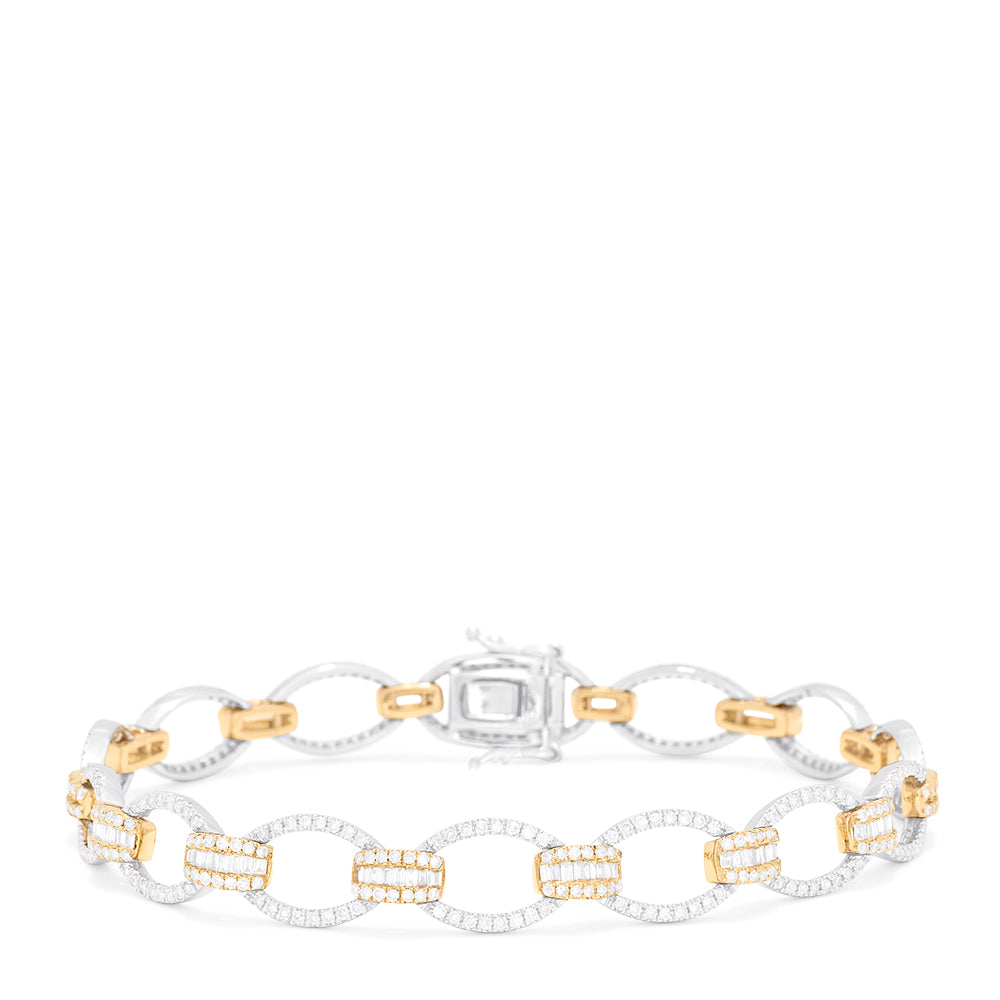 Effy Duo 14K White and Yellow Gold Diamond Links Bracelet, 2.01 TCW