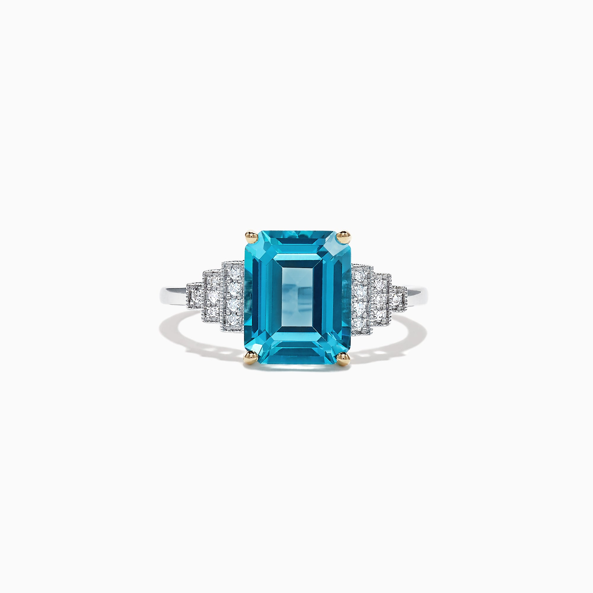 Effy Ocean Bleu 14K Two Tone Gold Blue Topaz and Diamond Ring, 3.97 TCW