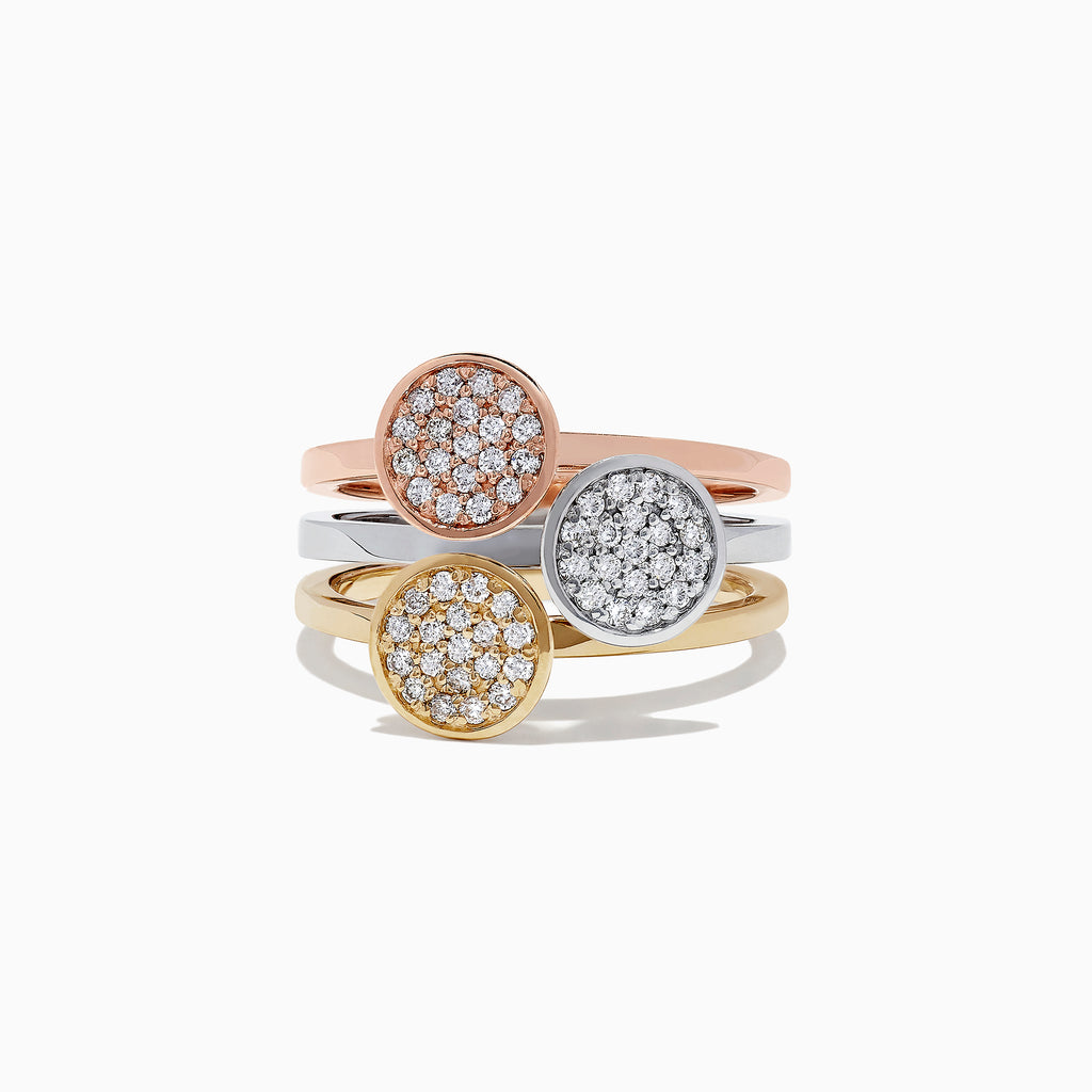 Effy Trio 14K Tri-Color Gold Diamond Disks Ring, 0.42 TCW
