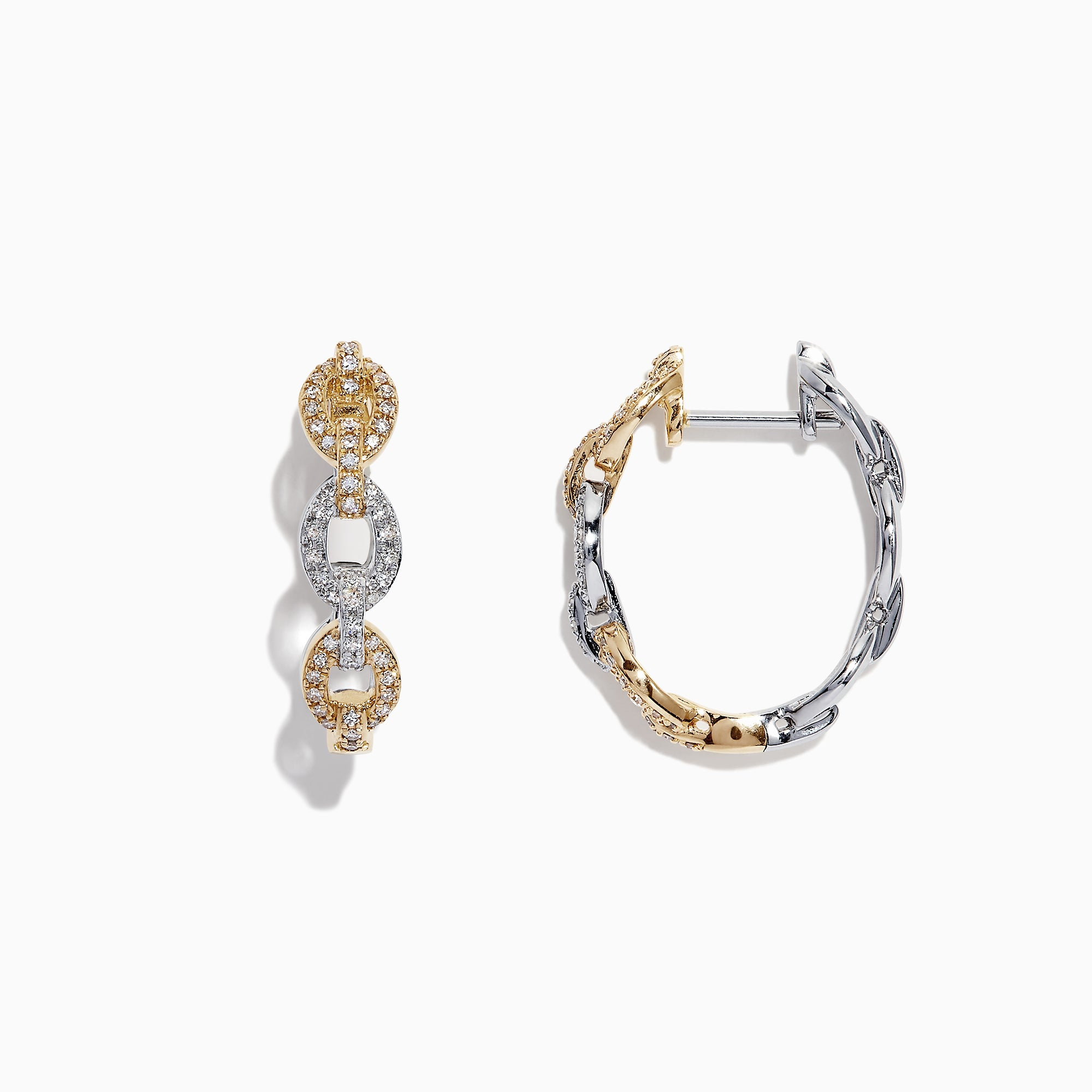 Effy Duo 14K Two Tone Gold Diamond Chain Link Hoop Earrings, 0.40 TCW