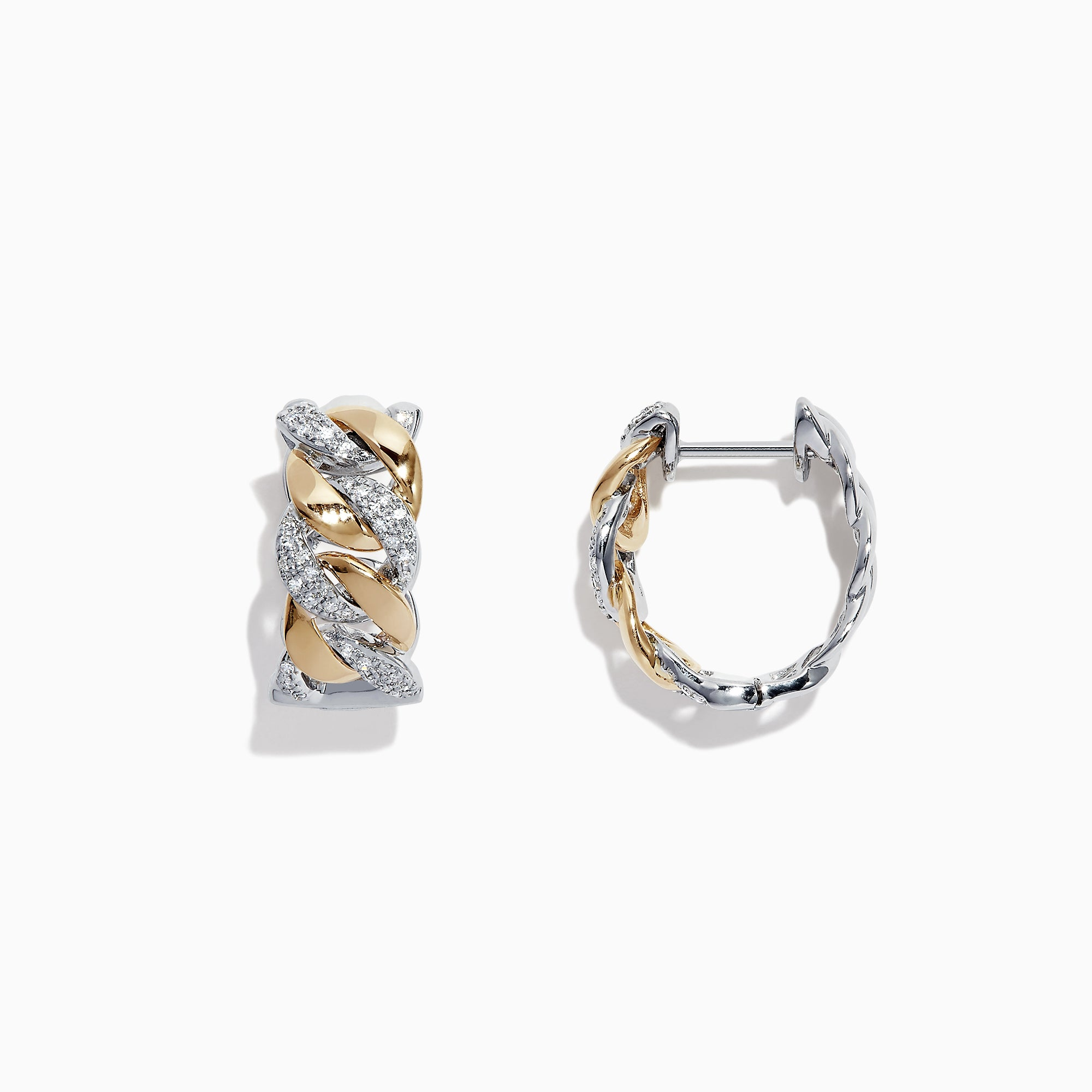 Effy Duo 14K Two Tone Gold Diamond Chain Link Hoop Earrings, 0.28 TCW