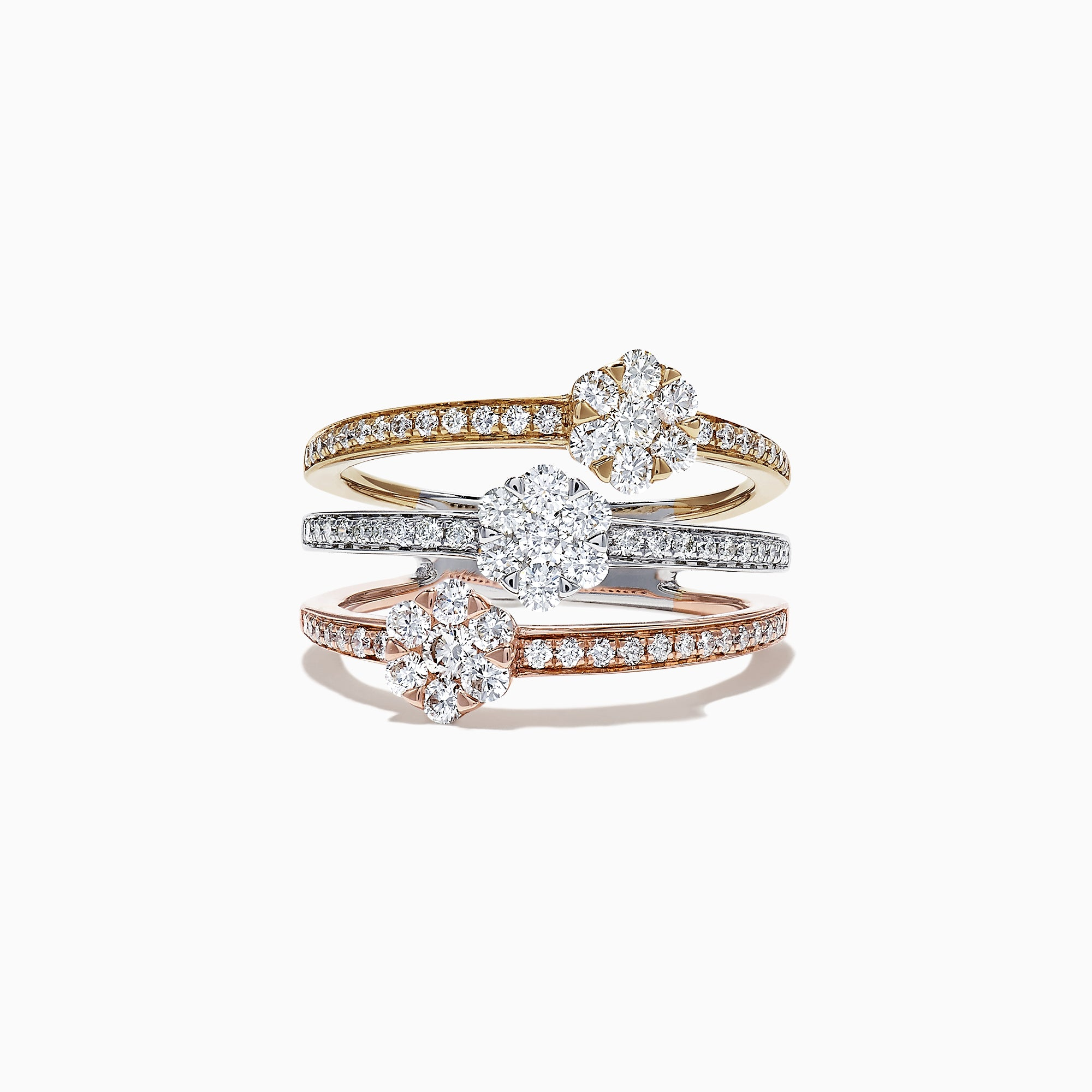 Effy Trio 14K Tri Tone Gold Diamond Clusters Ring, 1.04 TCW