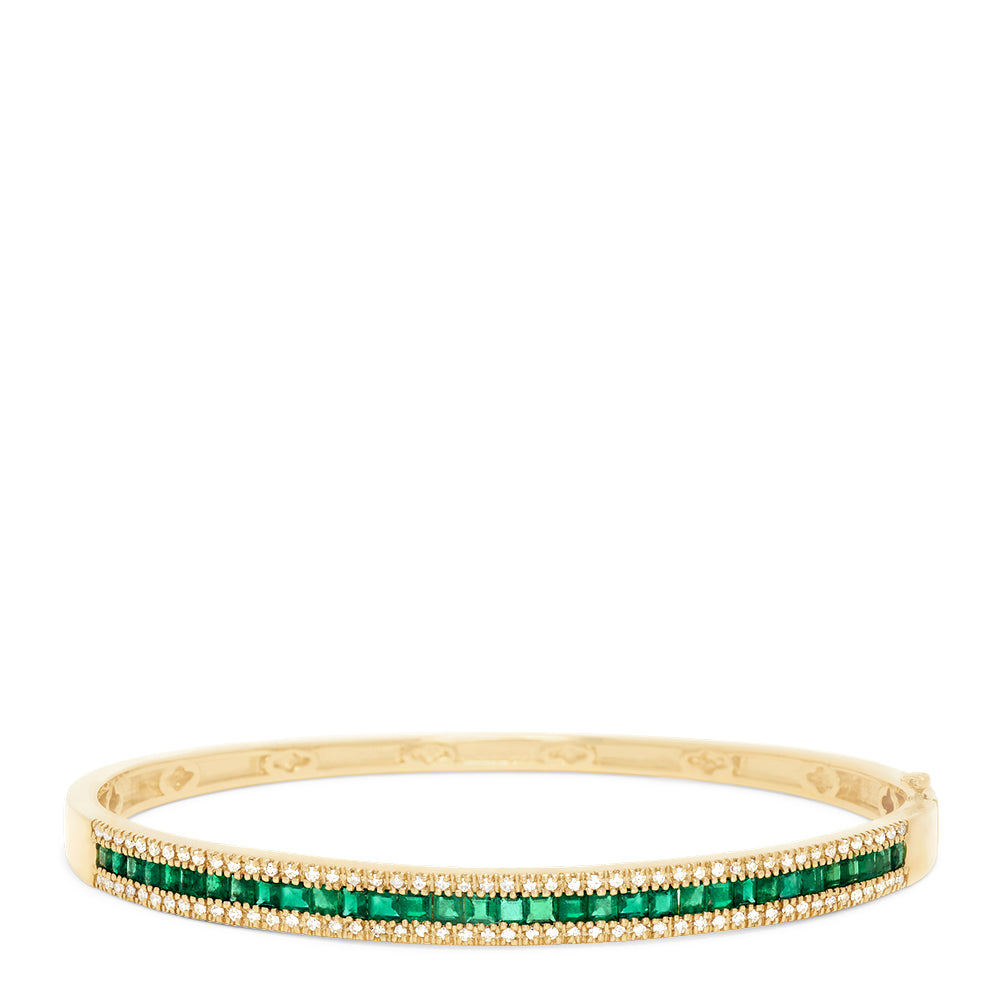 Effy Gemma 14K Yellow Gold Emerald and Diamond Bangle, 2.97 TCW