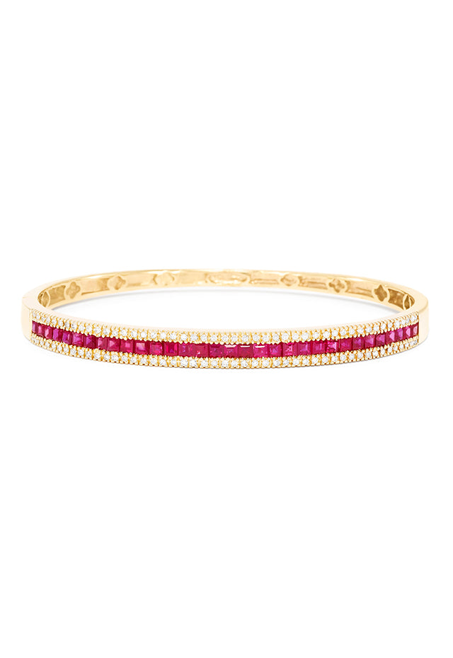 Effy Gemma 14K Yellow Gold Natural Ruby and Diamond Bangle, 3.60 TCW