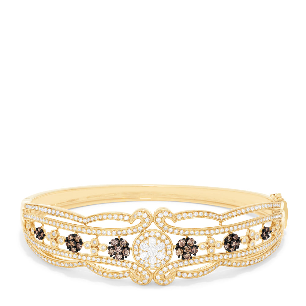 Effy Espresso 14K Yellow Gold Diamond Filigree Bangle, 2.03 TCW