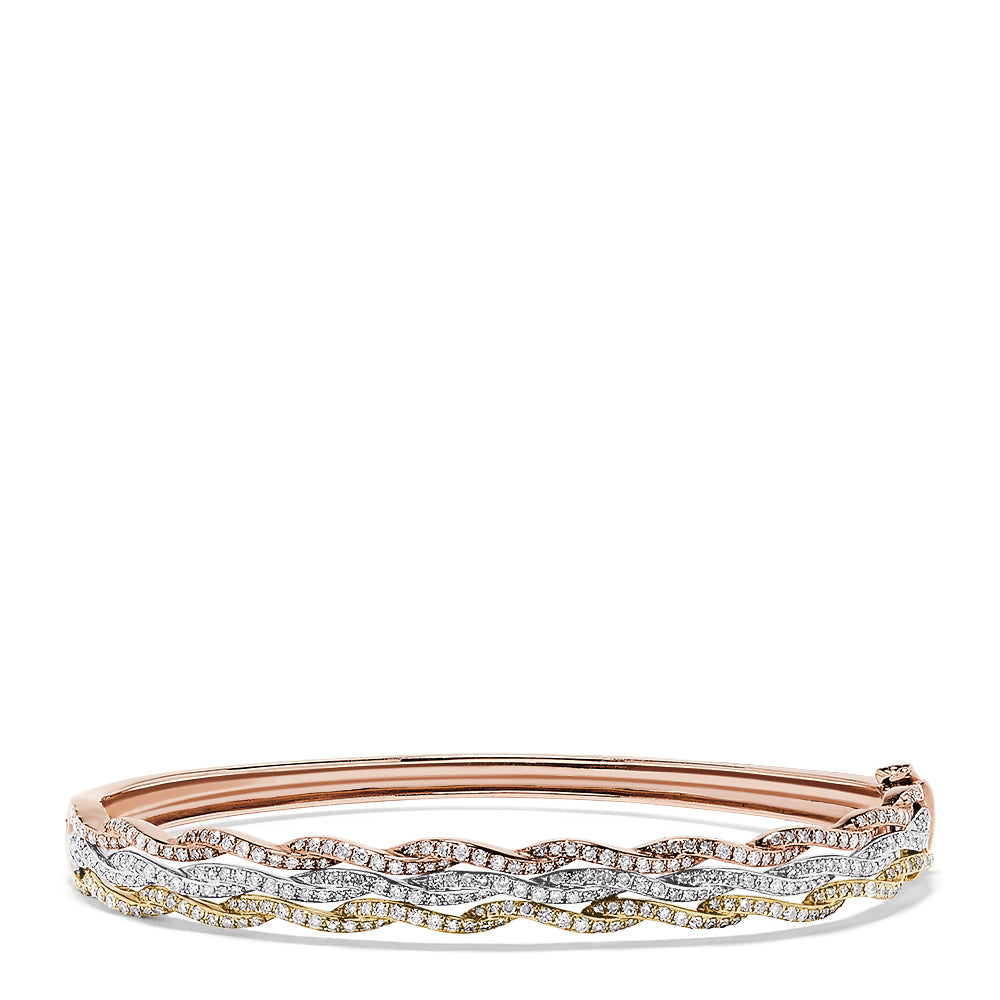 Effy Trio 14K Tri Color Gold Diamond Bangle, 1.42 TCW