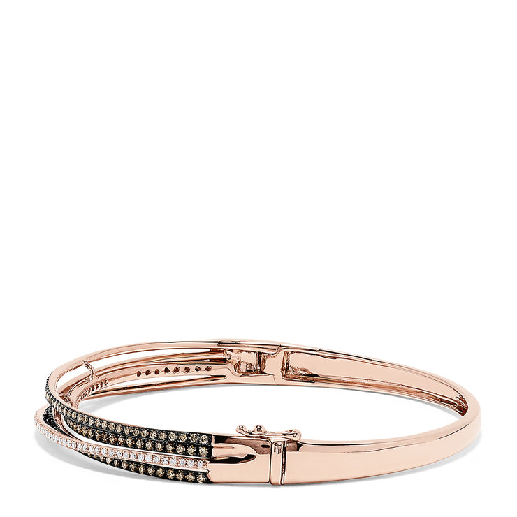 Effy 14K Rose Gold Espresso and White Diamond Bangle, 1.48 TCW