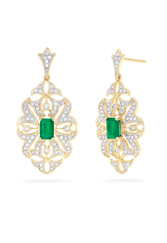 Effy Brasilica 14K Gold Emerald & Diamond Filigree Earrings, 1.59 TCW
