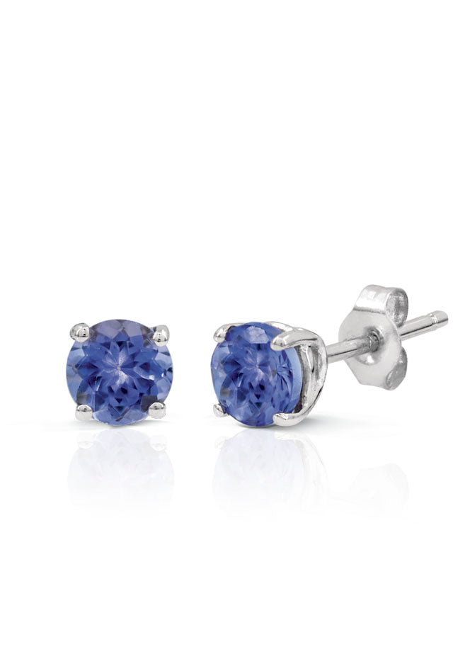 14K White Gold Round Tanzanite Stud Earrings, 0.65 TCW