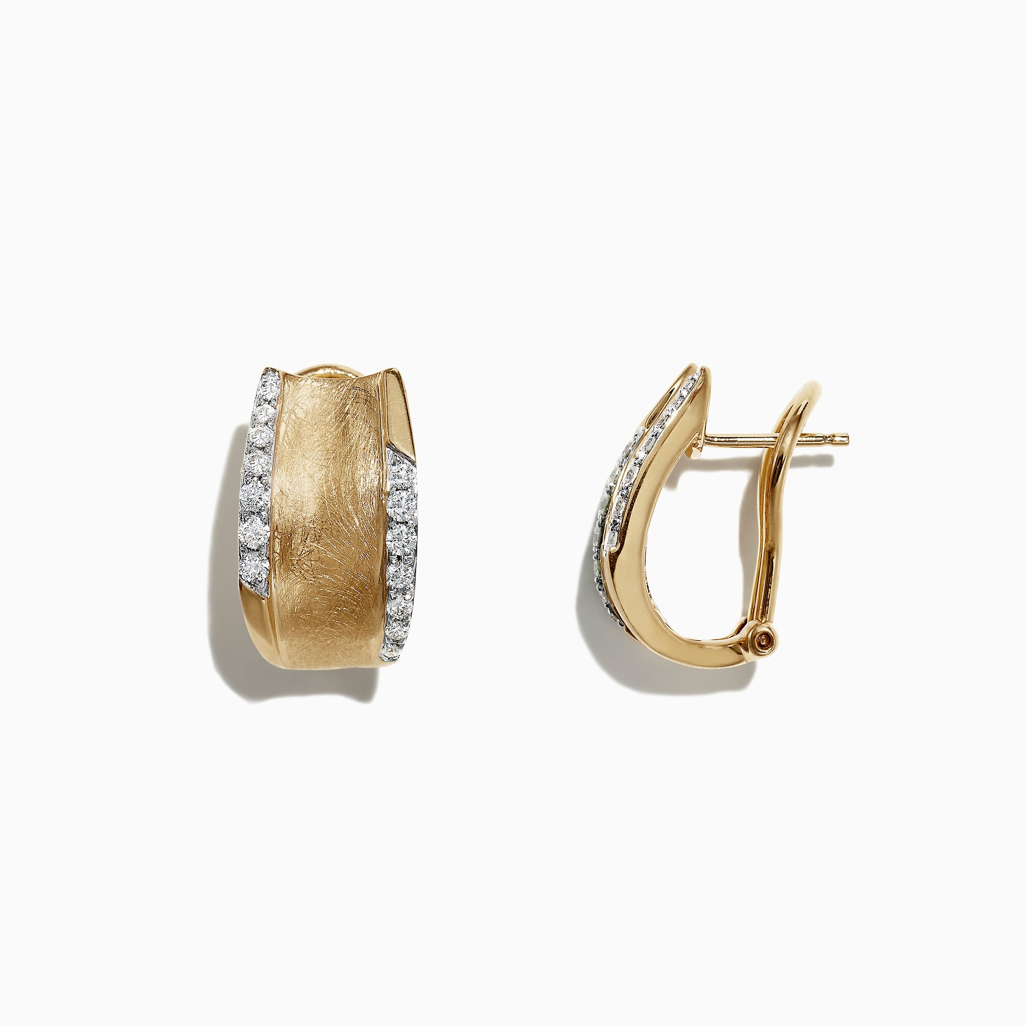 Effy D'Oro 14K Yellow Gold Diamond Hoop Earrings, 0.39 TCW