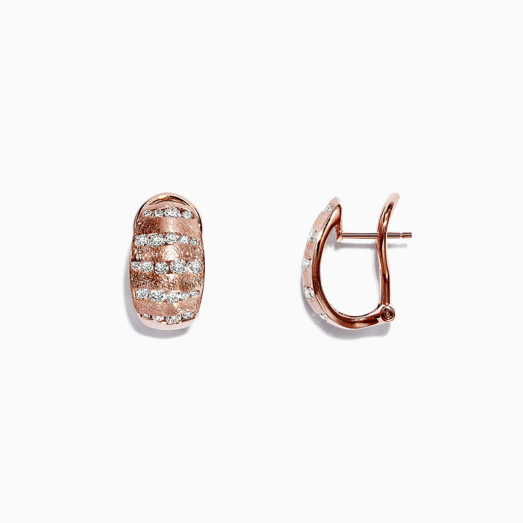 Effy Pave Rose 14K Rose Gold Diamond Earrings, 1.12 TCW