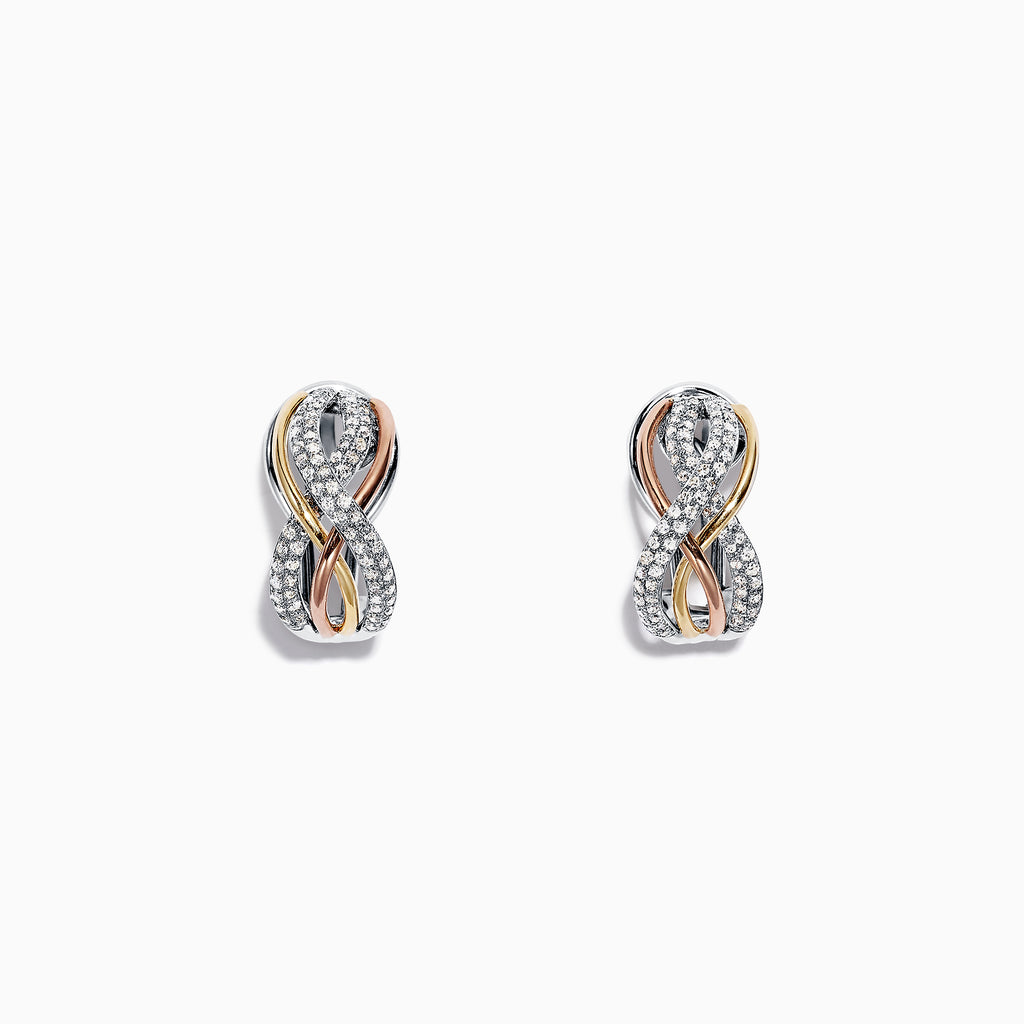 Effy Trio 14K Tri Color Gold Diamond Earrings, 0.55 TCW