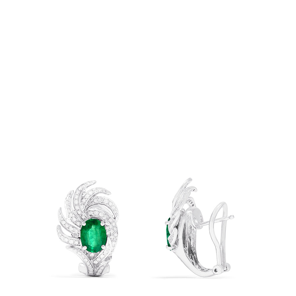 Effy 14K White Gold Emerald and Diamond Earrings, 2.90 TCW