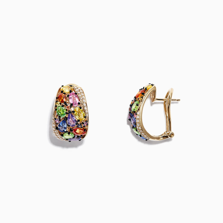 Effy Watercolors 14K Yellow Gold Multi Sapphire & Diamond Earrings, 5.33TCW