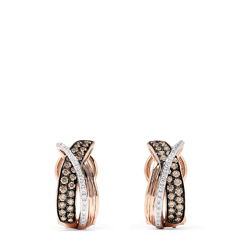 Effy 14K Rose Gold Espresso and White Diamond Earrings, 0.73 TCW