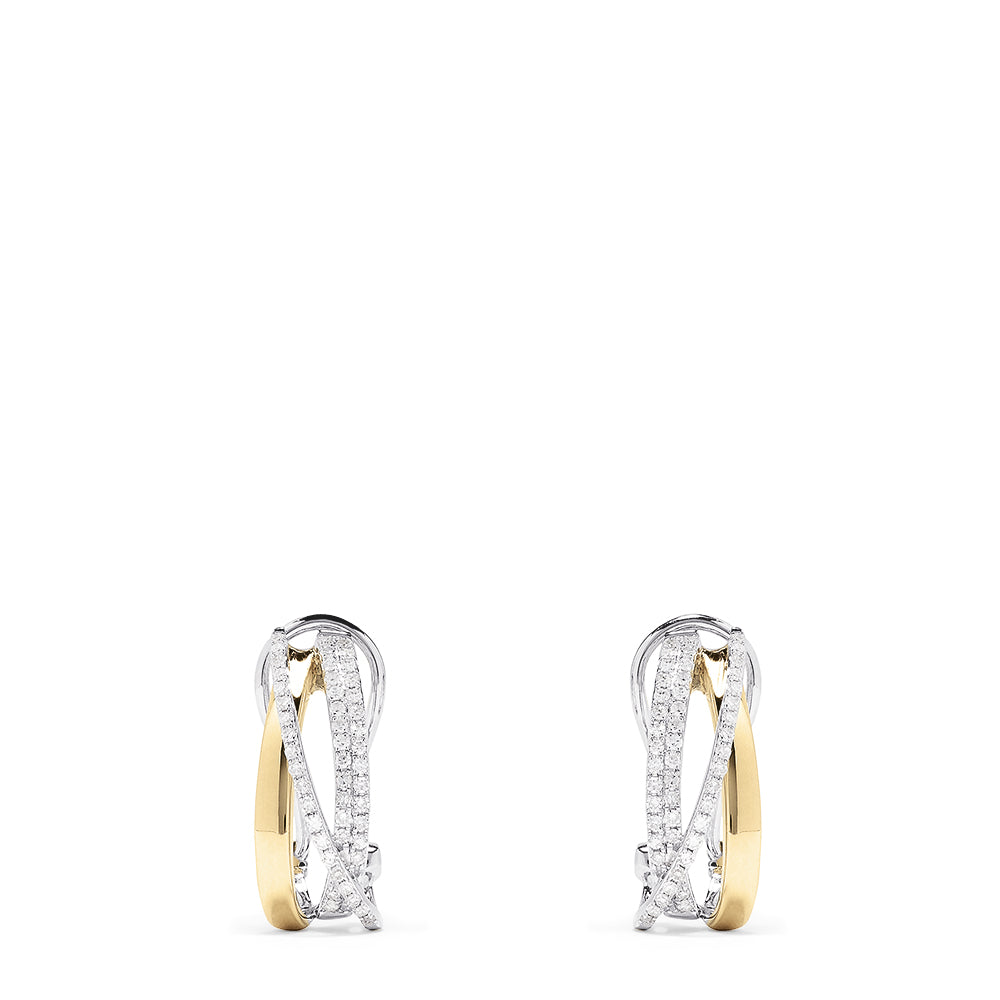 Effy Duo 14K Two Tone Gold Diamond Earrings, 0.49 TCW