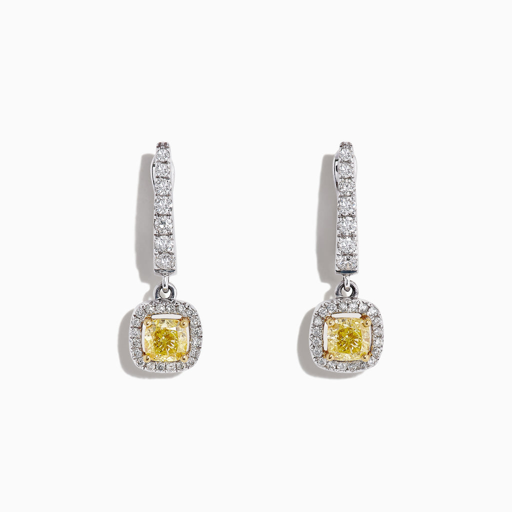 Effy Canare 18K Two-Tone Yellow & White Diamond Drop Earrings, 1.06 TCW
