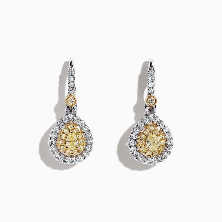 Effy Canare 18K Two-Tone Gold Yellow and White Diamond Earrings, 0.99 TCW