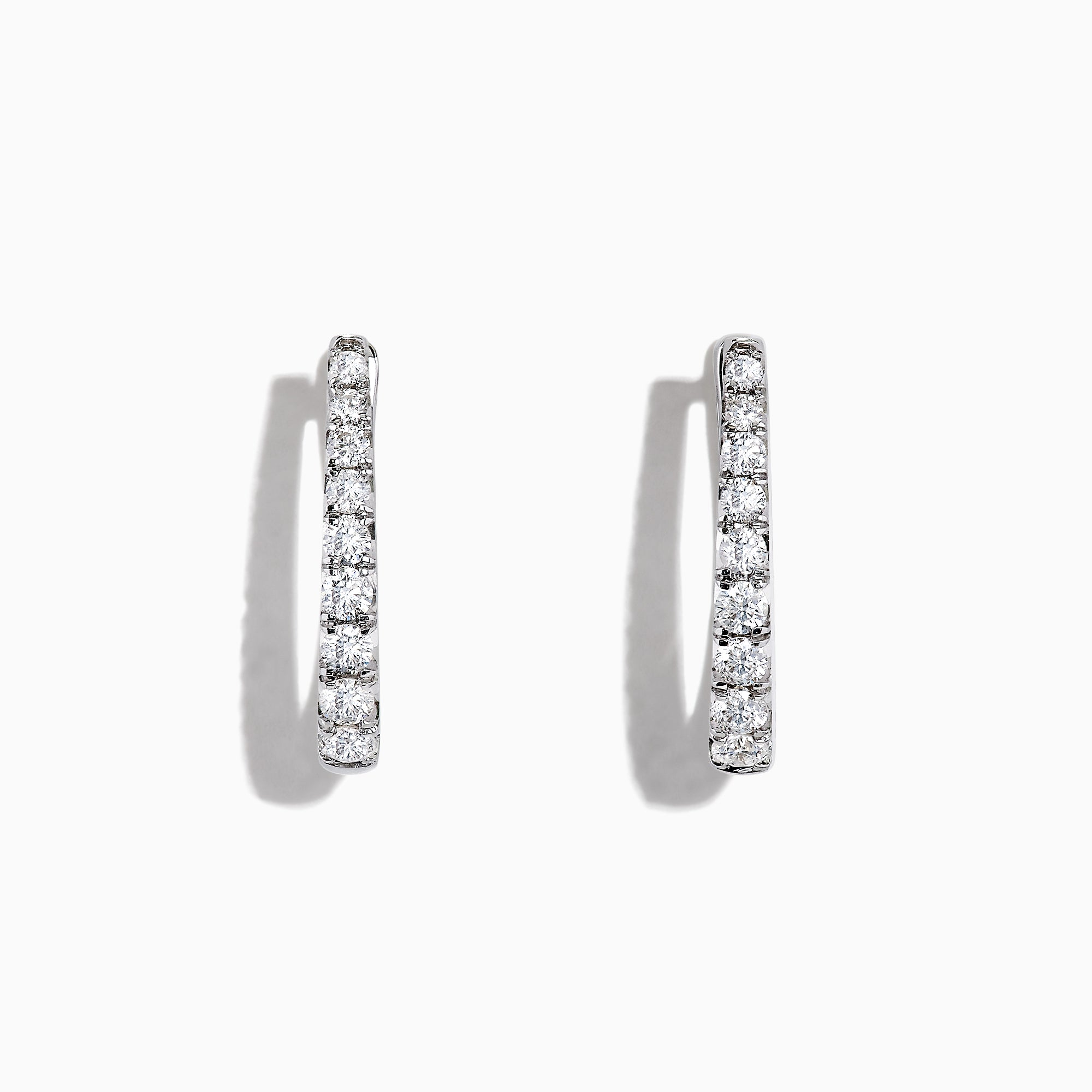 Effy Pave Classica 14K White Gold Diamond Hoop Earrings, 0.49 TCW