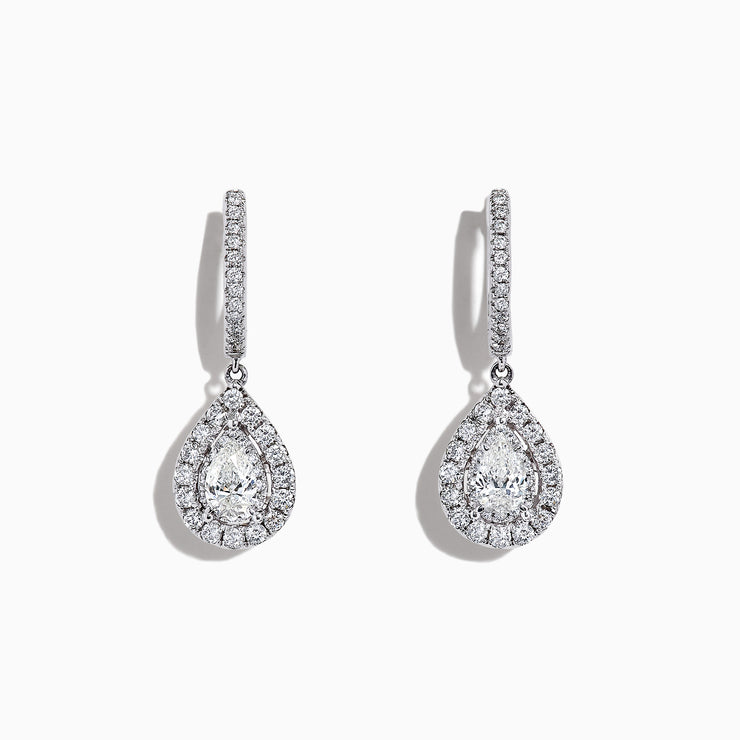 Effy Pave Classica 14K Gold Diamond Pear Shaped Drop Earrings, 0.77 TCW