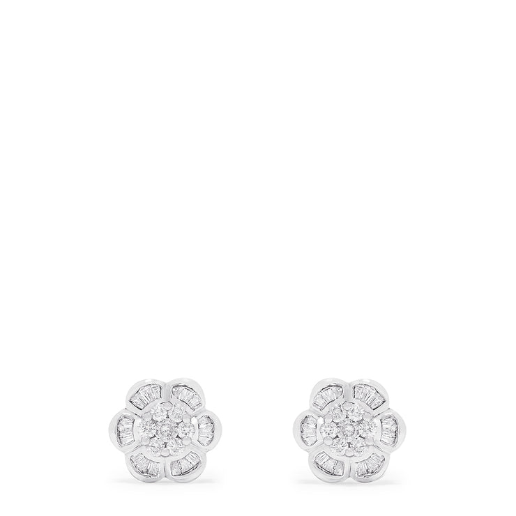 Effy 14K White Gold Floral Diamond Stud Earrings, 0.64 TCW