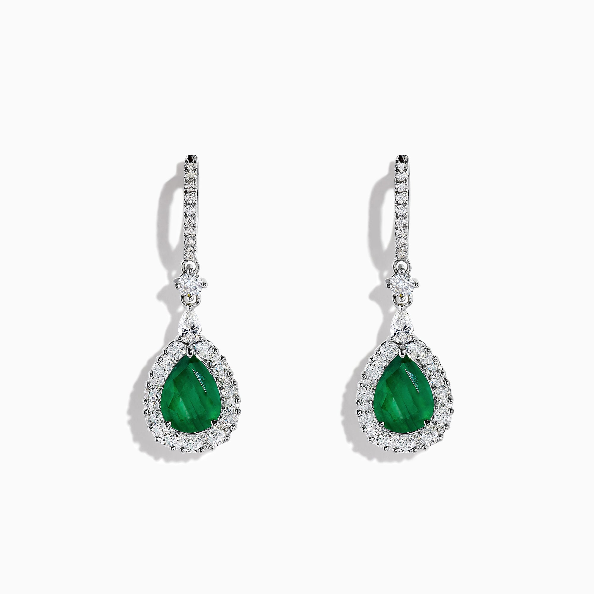 Effy Brasilica 14K White Gold Emerald and Diamond Drop Earrings, 4.04 TCW