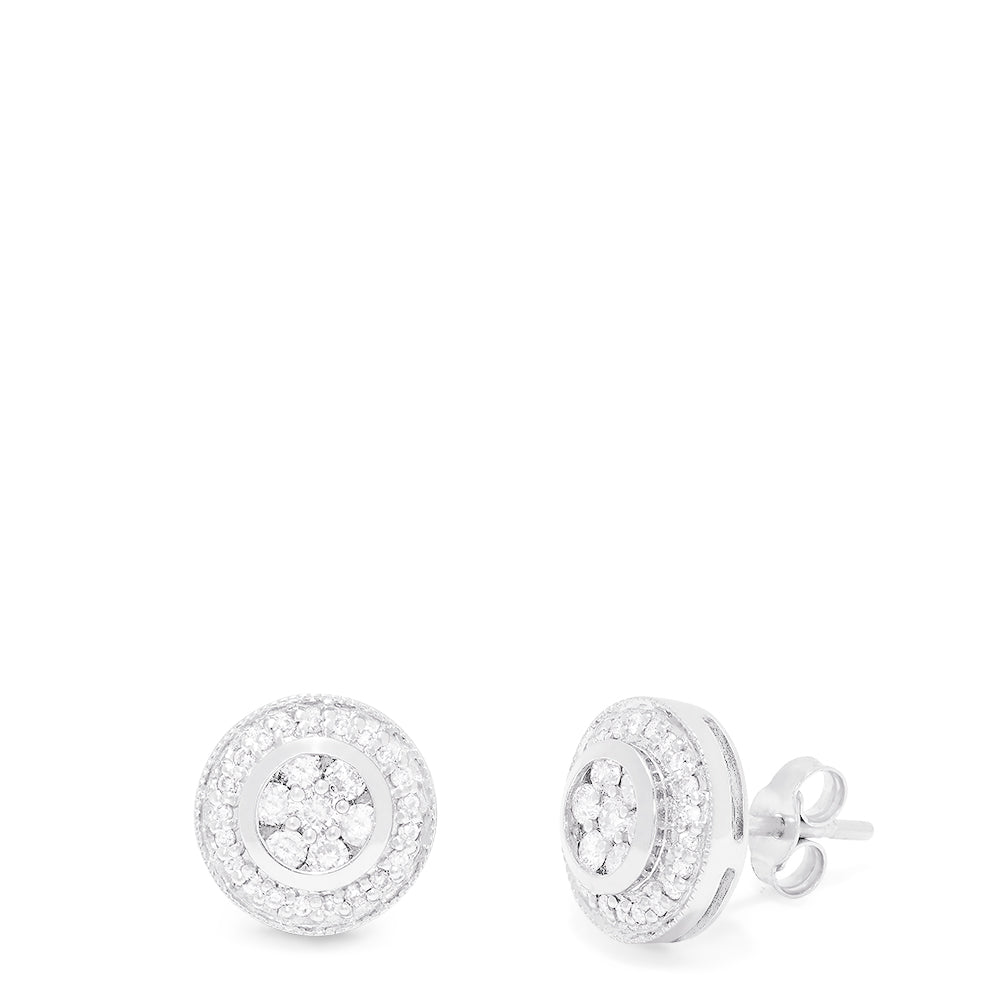 Effy Pave Classica 14K White Gold Diamond Stud Earrings, 0.50 TCW