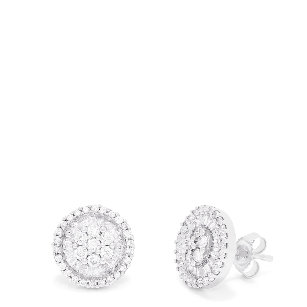 Effy Pave Classica 14K White Gold Diamond Stud Earrings, 0.90 TCW