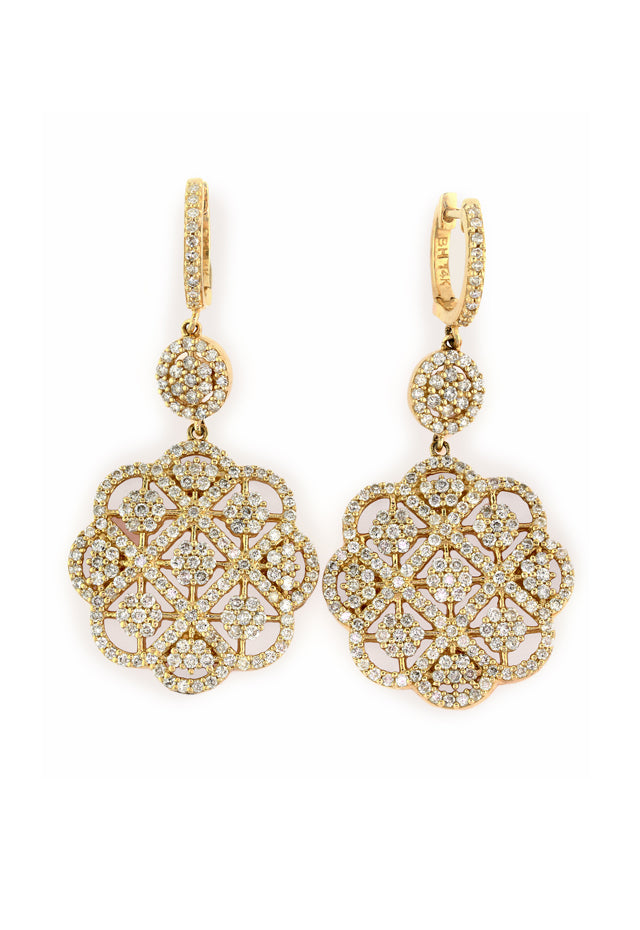 14K Yellow Gold Diamond Earrings, 2.14 TCW