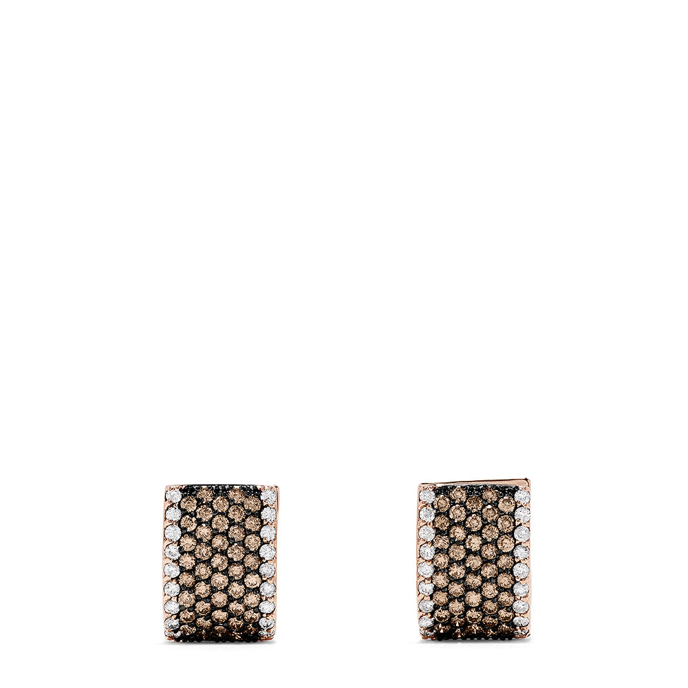 Effy 14K Rose Gold Espresso and White Diamond Earrings, 1.97 TCW