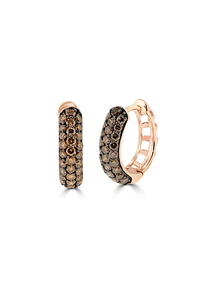 Effy 14K Rose Gold Cognac Diamond Huggie Hoop Earrings, 1.00 TCW