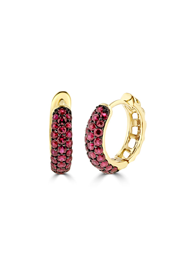 Effy 14K Yellow Gold Ruby Huggie Hoop Earrings, 1.26 TCW
