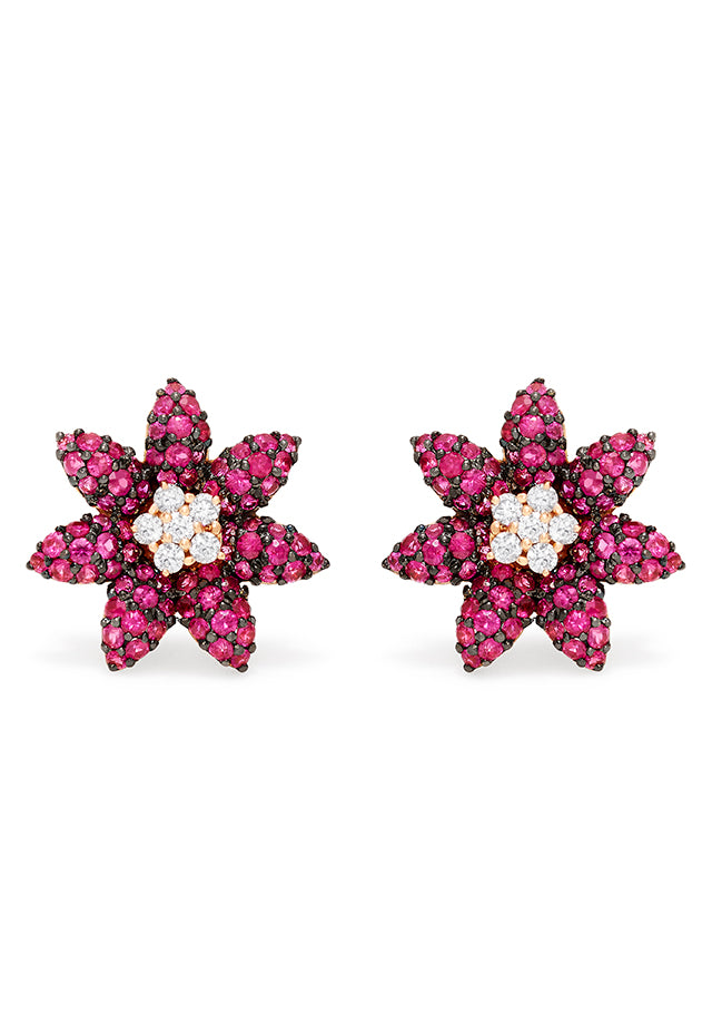 Effy Nature 14K Rose Gold Ruby and Diamond Flower Earrings, 1.94 TCW