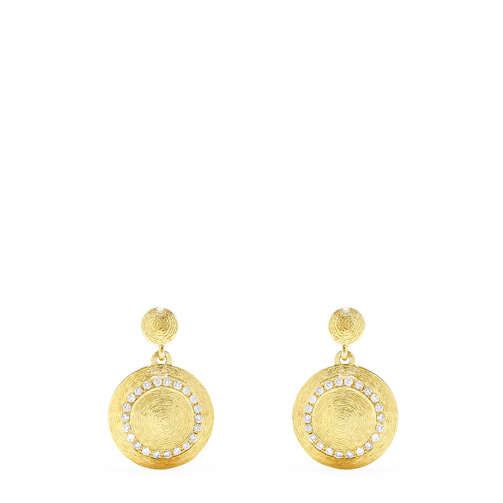 Effy 14K Brushed Yellow Gold Diamond Accented Earrings, 0.32 TCW