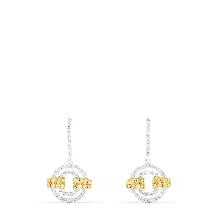 Effy 14K White Gold Yellow and White Diamond Earrings, 0.93 TCW