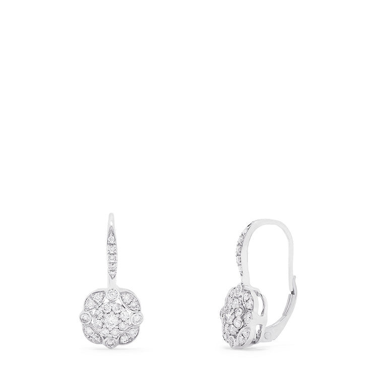 Effy 14K White Gold Diamond Cluster Earrings, 0.64 TCW