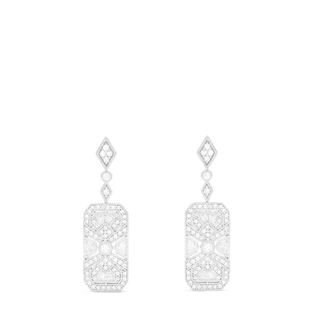 Effy Art Deco 14K White Gold Diamond Earrings, 0.89 TCW