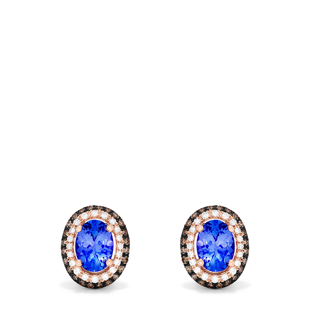 Effy 14K Rose Gold Tanzanite and Diamond Stud Earrings, 1.70 TCW