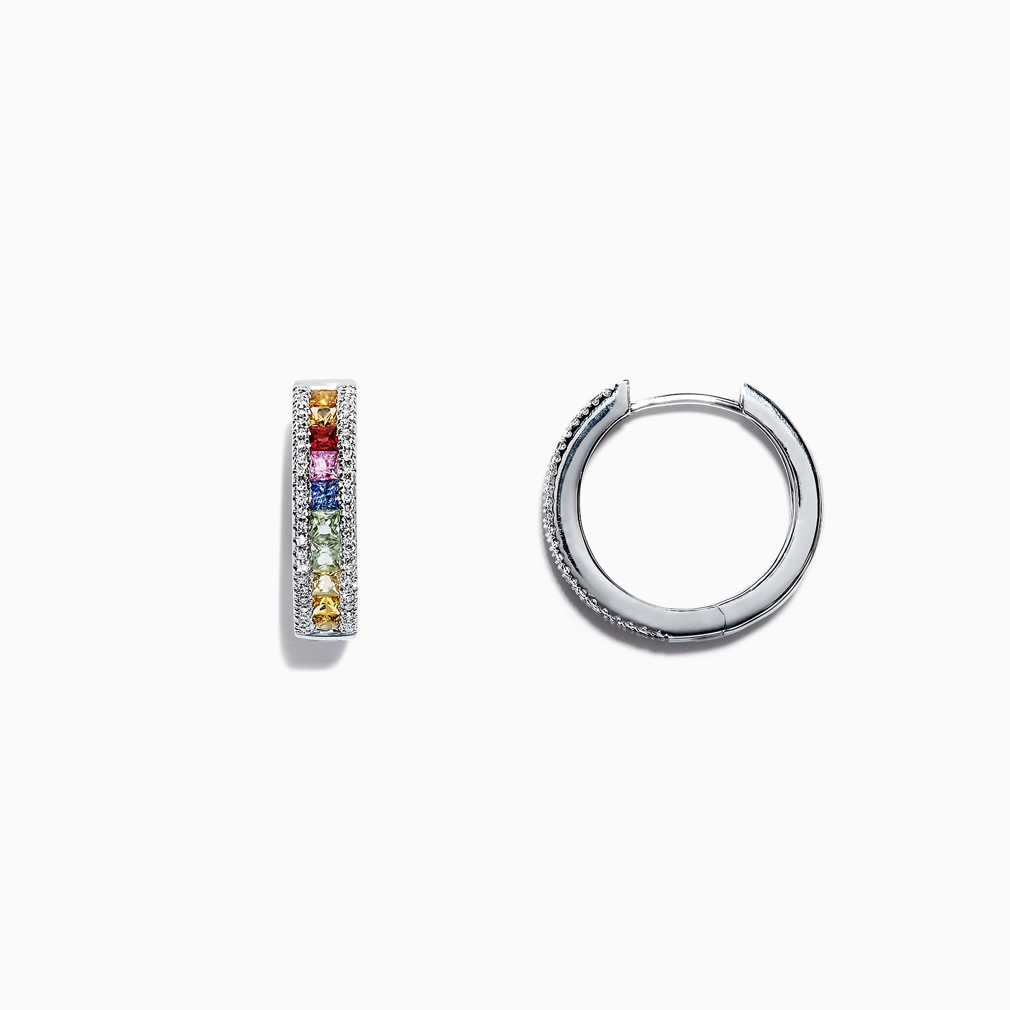 Effy Watercolors 14K White Gold Sapphire & Diamond Hoop Earrings, 2.13 TCW