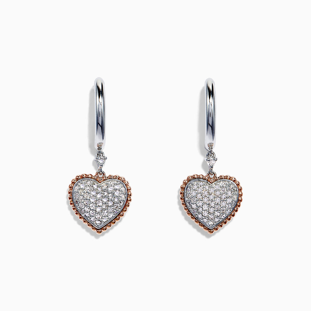 Effy Novelty 14K Two Tone Gold Diamond Heart Drop Earrings, 0.37 TCW
