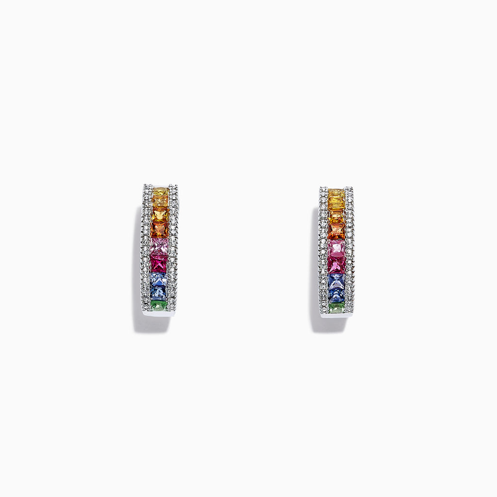 Effy Watercolors 14K White Gold Sapphire &  Diamond Hoop Earrings, 2.39 TCW