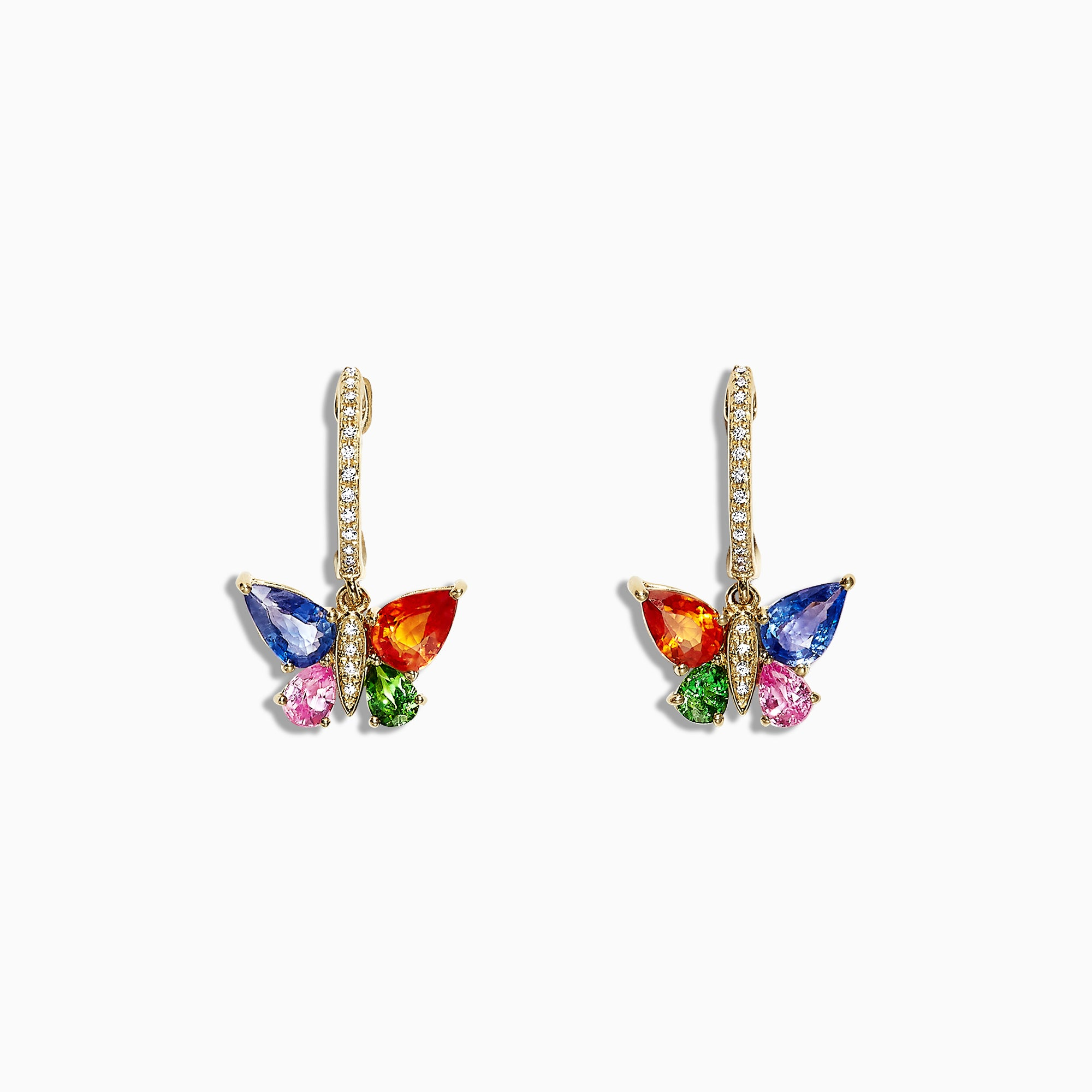 Effy Watercolors 14K Gold Sapphire & Diamond Butterfly Earrings, 2.97 TCW